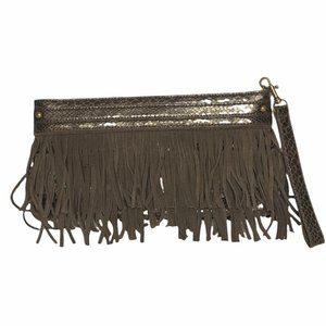 Express brown fringed clutch with zipper closure.